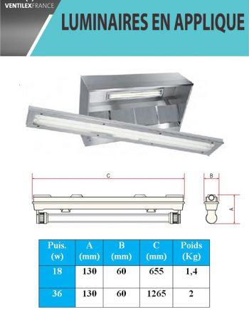 Luminaire pour hottes 1500 mm