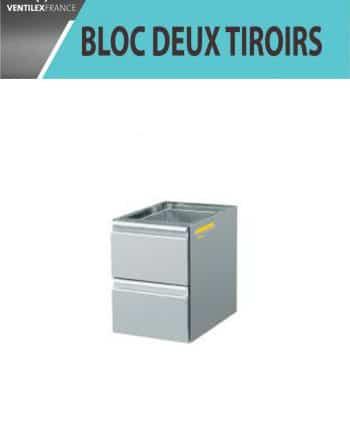 bloc deux tiroirs inox
