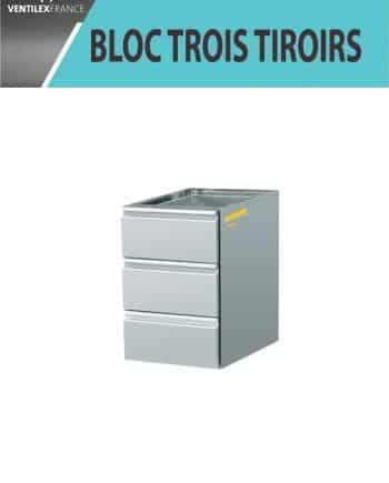 BLOC TROIS TIROIRS INOX